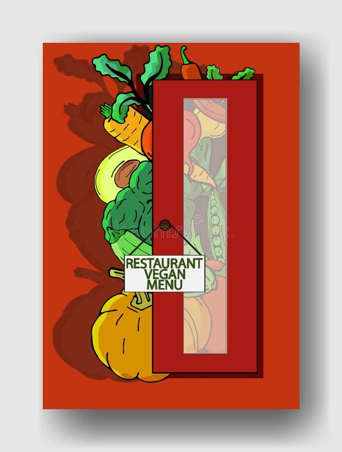 导航菜的例证在餐馆门和您简单的文本之外的 小册子的盖子模板 库存例证