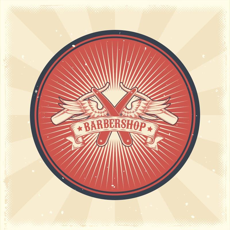 导航葡萄酒徽章、贴纸、标志与普通刀片和翼理发店的 向量例证
