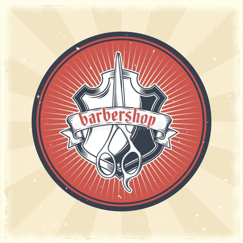 导航葡萄酒徽章、贴纸、标志与纹章学盾和理发剪刀理发店的 皇族释放例证