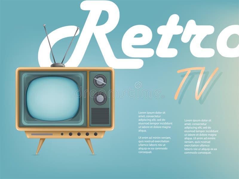 导航葡萄酒电视机,电视广告海报  通信的,网,娱乐,网络电视节目预告横幅 向量例证