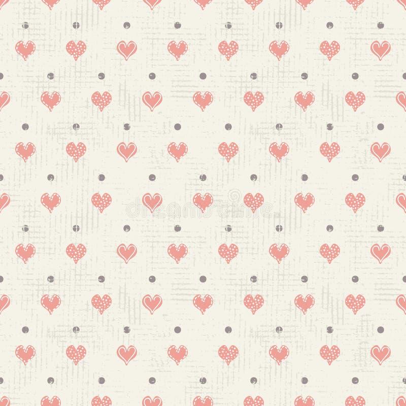 导航葡萄酒被构造的圆点心脏和小点无缝的重复样式背景 为墙纸,文具,织品完善, 向量例证