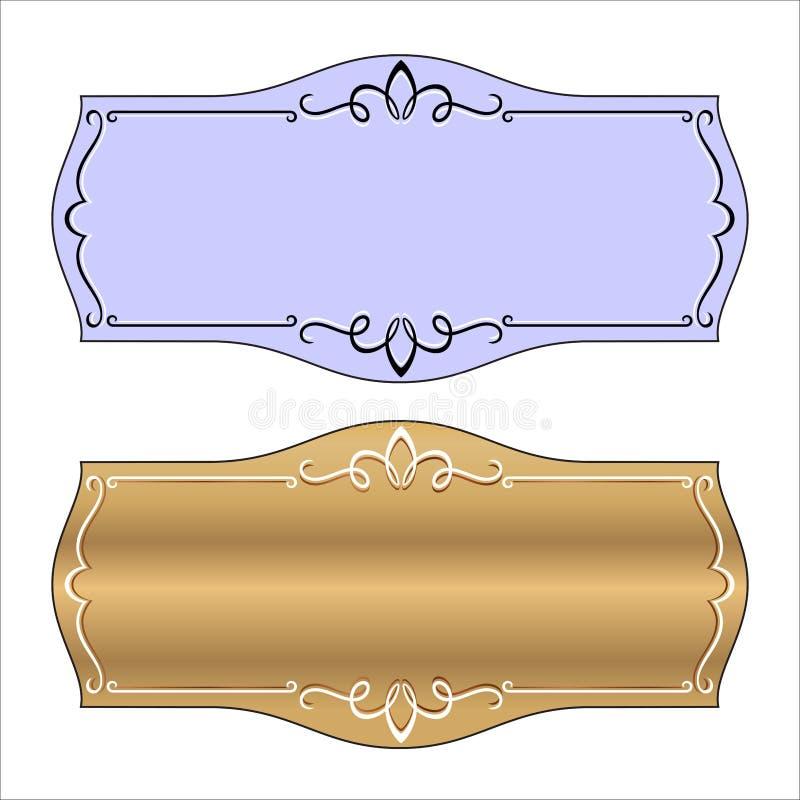 导航葡萄酒边界与减速火箭的装饰品传染媒介的框架板刻 皇族释放例证
