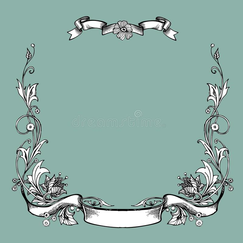 导航葡萄酒边界与减速火箭的装饰品样式的框架板刻在古色古香的艺术nouveau样式装饰设计 库存例证