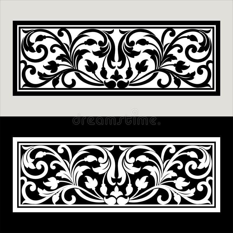 导航葡萄酒边界框架与减速火箭的装饰品样式的商标板刻在古色古香的洛可可式的样式装饰设计 向量例证