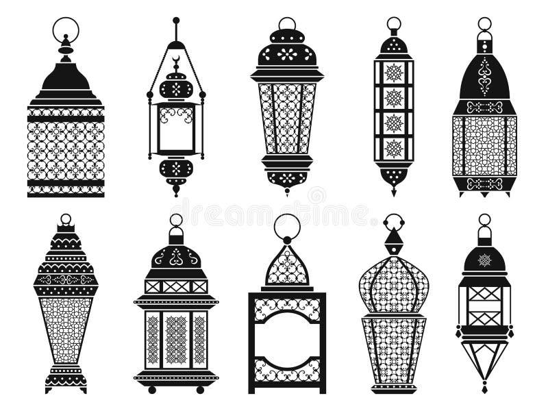导航葡萄酒阿拉伯灯笼和灯孤立剪影在白色背景的 库存例证