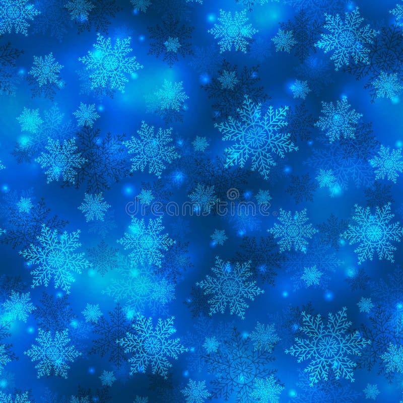 导航蓝色圣诞节背景,与雪花的无缝的样式 皇族释放例证