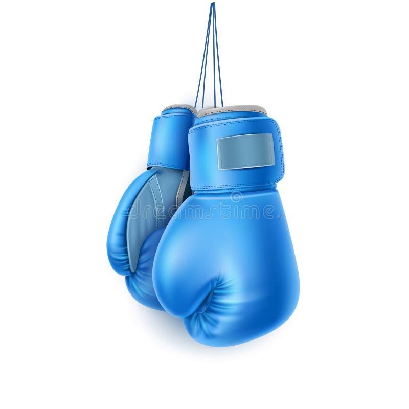 导航蓝色对在现实的鞋带的拳击手套 库存例证