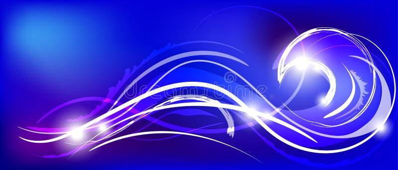 导航蓝色抽象背景的例证与不可思议的霓虹灯弯曲的线的 向量例证