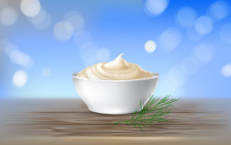 导航蛋黄酱,酸性稀奶油,调味汁,甜奶油,酸奶,化妆奶油的例证 皇族释放例证