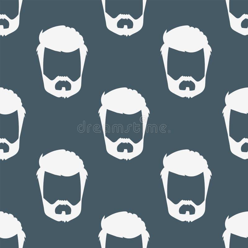 导航行家减速火箭的发型无缝的样式髭葡萄酒老刮脸男性面部胡子理发 皇族释放例证