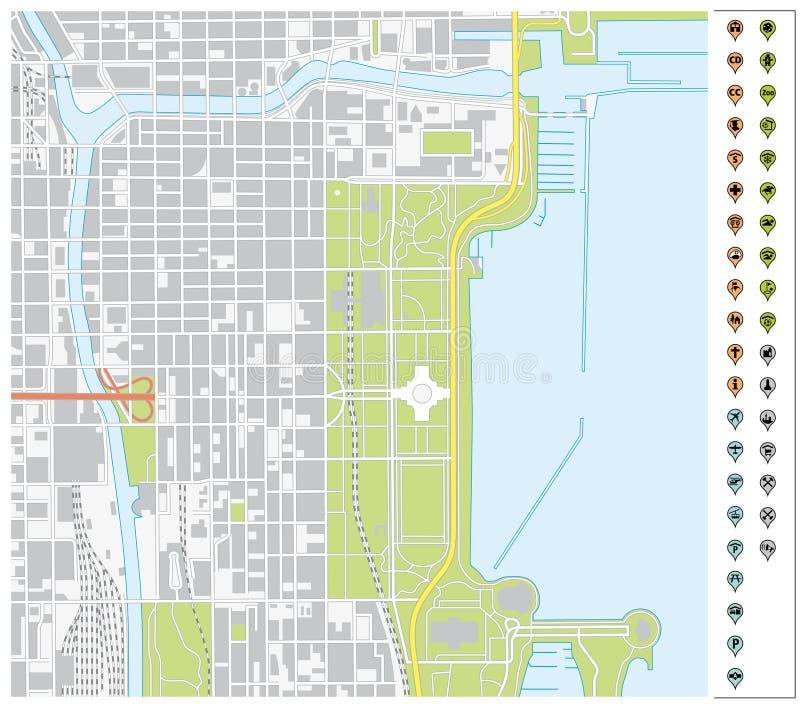导航街市芝加哥街道地图有别针尖和infr的 皇族释放例证