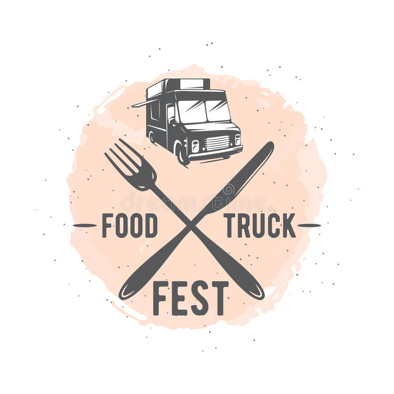 导航街道食物卡车图表徽章的例证 向量例证