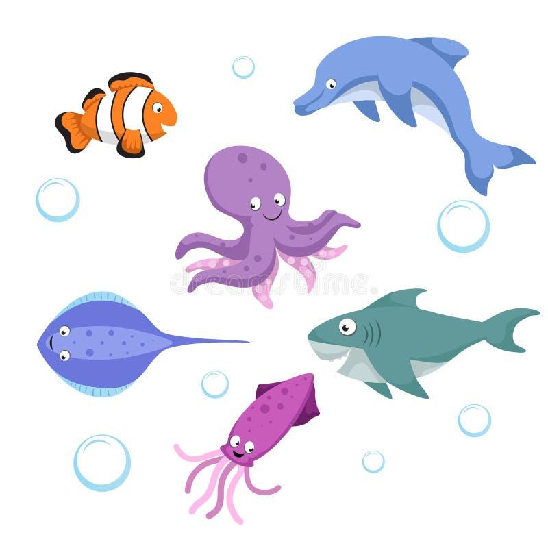 导航被设置的动画片不同的海和海洋动物 查出的向量例证 Clownl鱼,章鱼,黄貂鱼,鲨鱼,海豚, 向量例证