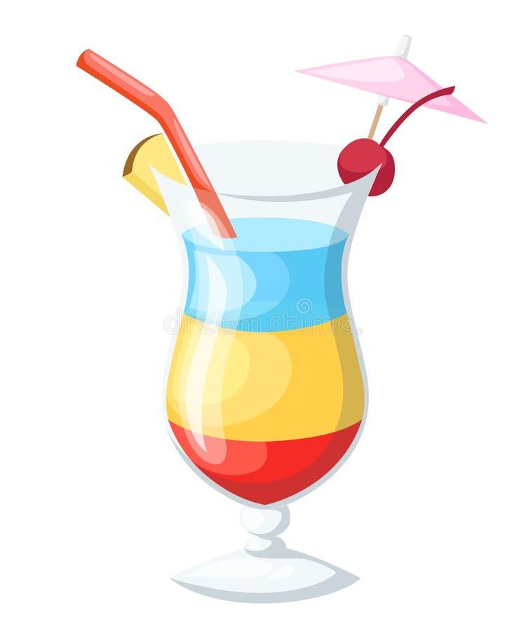 导航被隔绝的八块普遍的酒精鸡尾酒平的样式鸡尾酒会邀请飞行物小册子模板的例证 库存例证