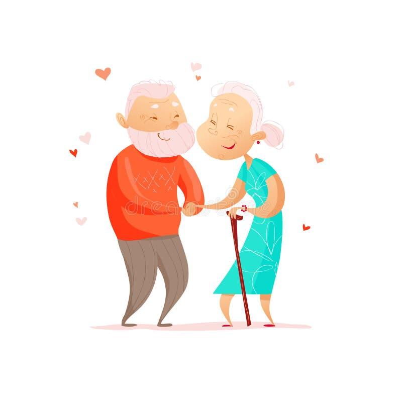 导航被隔绝的老逗人喜爱的爱恋的夫妇平的画象  皇族释放例证