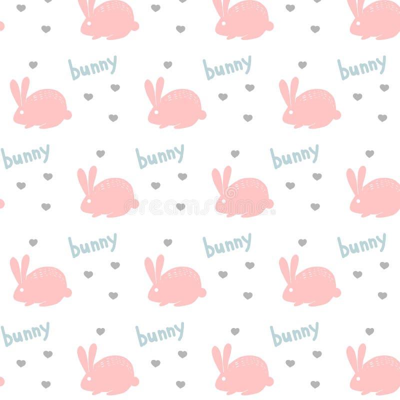 导航装饰样式的样式用桃红色兔子野兔和蓝色信件和灰色心脏字体宠物保护动物在白色bac 皇族释放例证