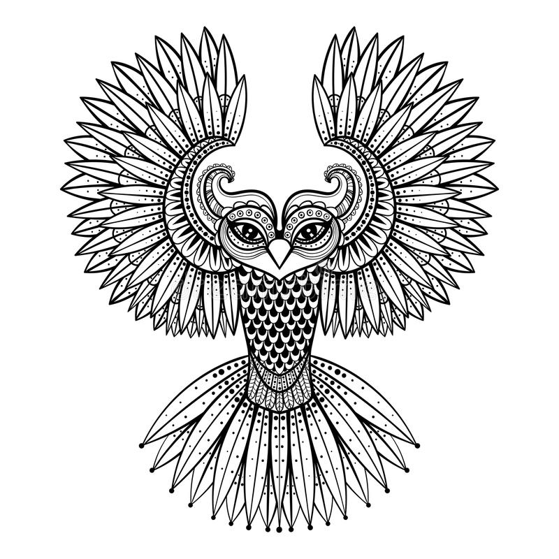 导航装饰猫头鹰,种族zentangled吉祥人,护身符,面具 库存例证