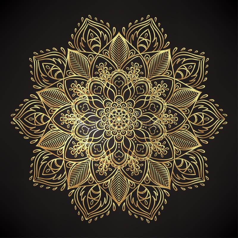 导航装饰莲花,种族艺术,被仿造的印地安pai 向量例证