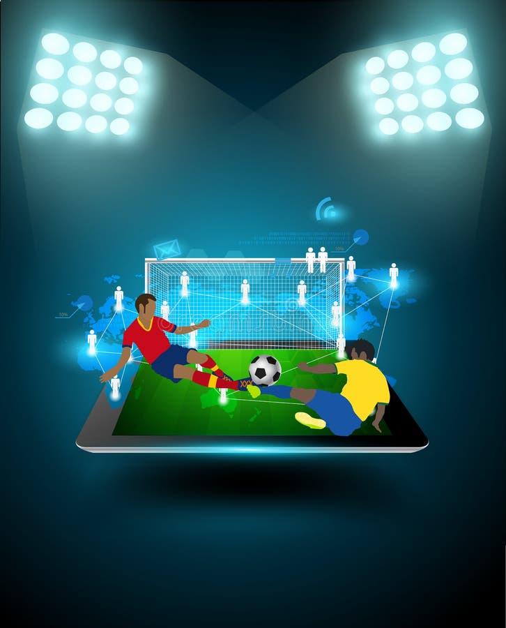 导航触击球的足球运动员在体育场 皇族释放例证