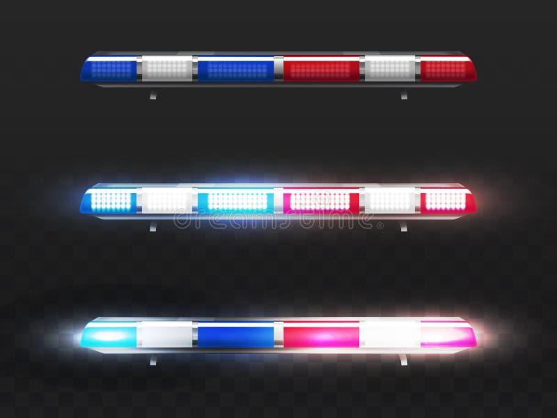 导航警车的现实红色,蓝色敷金属纸条 向量例证