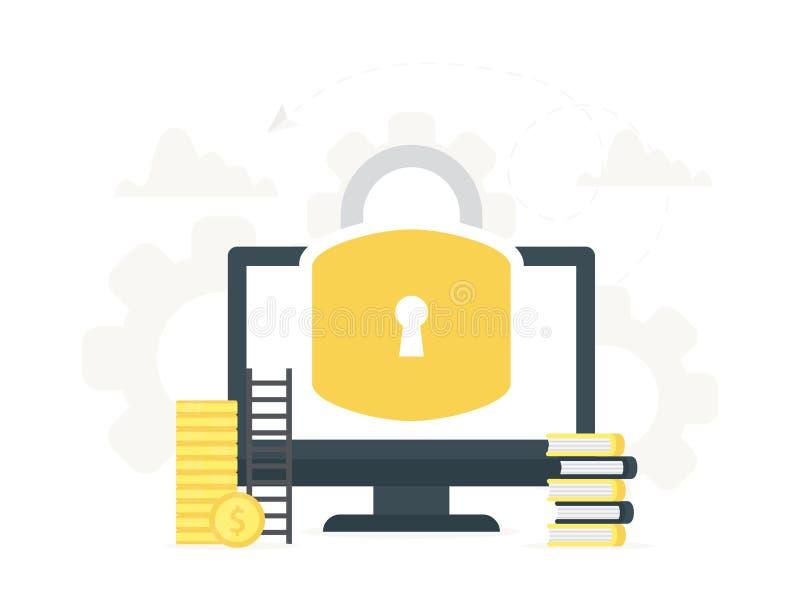 导航计算机的例证有大锁的在屏幕上 安全中心,数据保护,安全的网络的概念 向量例证