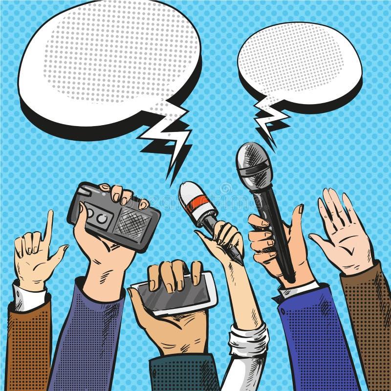 导航记者手的流行艺术例证有话筒的 向量例证