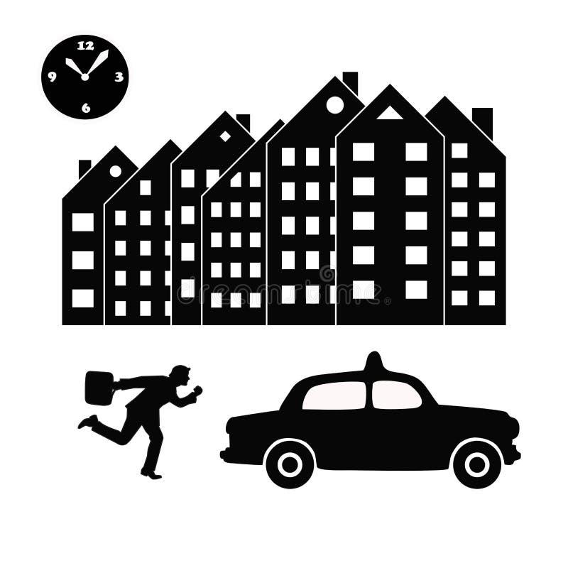 导航设法的商人或办公室工作者ina的衣服的例证急忙乘坐出租汽车 黑白剪影 库存例证