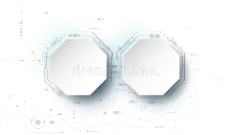 导航设计3d与电路板的纸圈子 例证抽象现代未来派技术背景 皇族释放例证