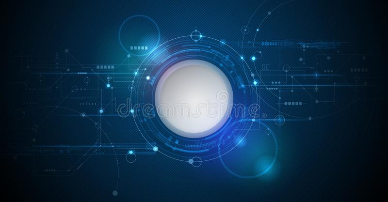 导航设计3d与电路板的纸圈子 高科技数字式连接,通信,高技术概念 向量例证