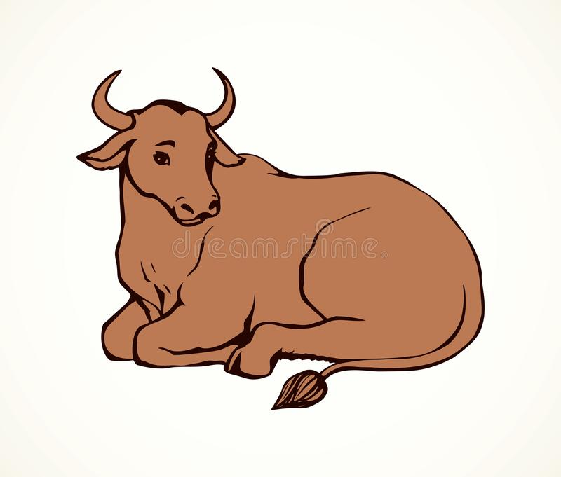 导航说谎的母牛的等高例证与大垫铁的 皇族释放例证