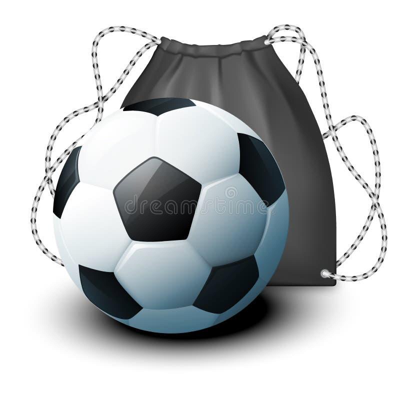 导航象体育背包和一个足球在一个现实样式 大模型展示的您的设计产品布局 皇族释放例证