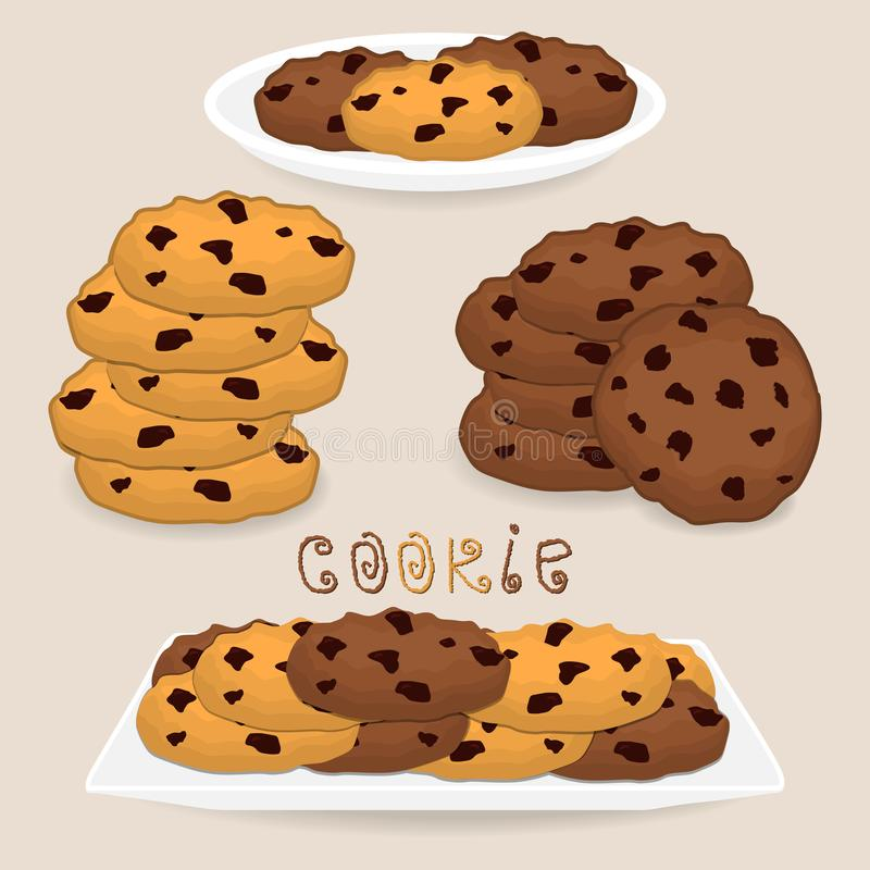 导航象堆自创曲奇饼的例证商标 库存例证