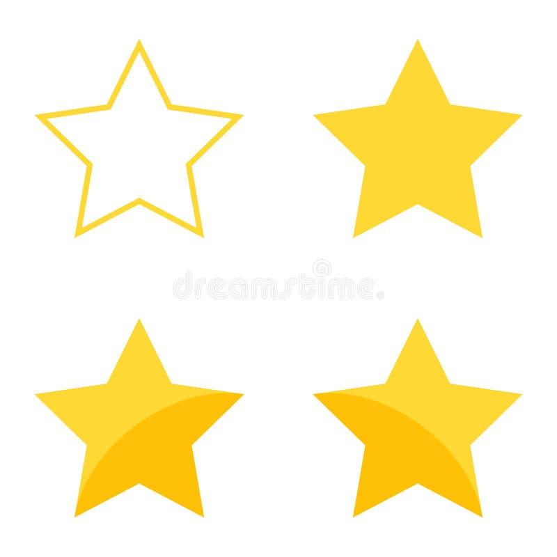 导航象集合黄色被隔绝的对估计的星 库存例证