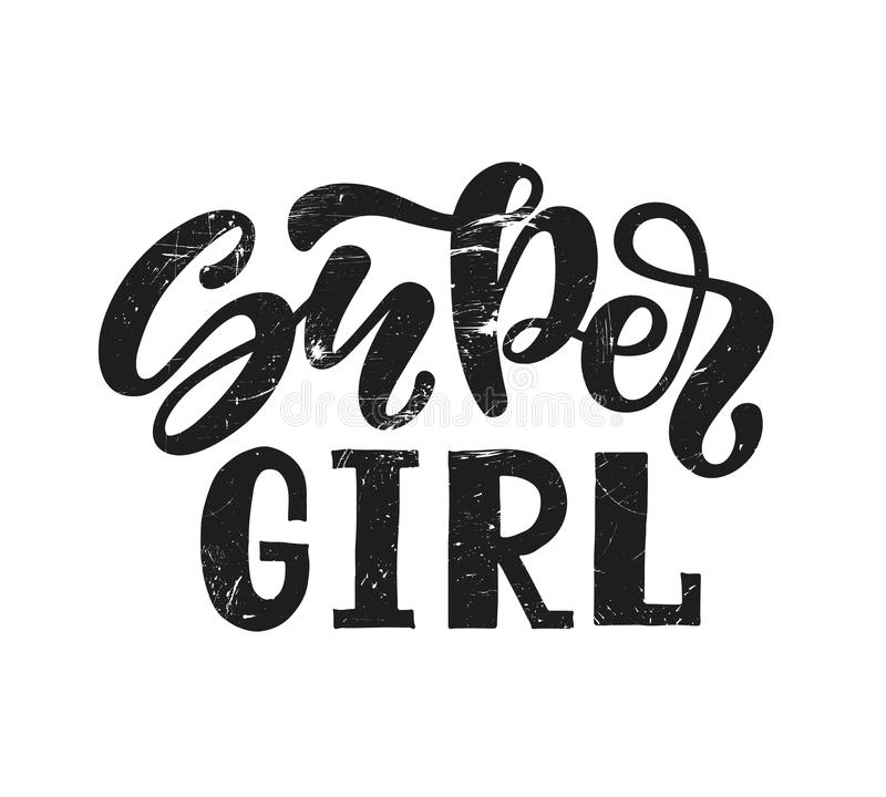 导航超级女孩文本的例证衣裳的 孩子徽章标记象 激动人心的行情卡片邀请横幅 贴纸样式 库存例证