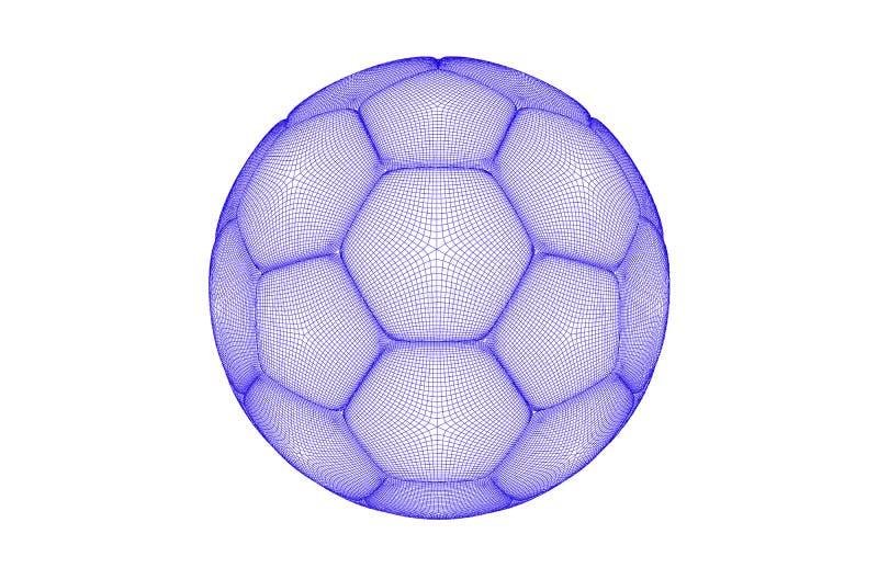 导航足球的未来派体育概念 现代数字式球 高科技球设计 球由线形制成 库存例证