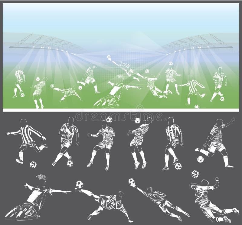 导航足球运动员图有体育场的在背景 库存例证