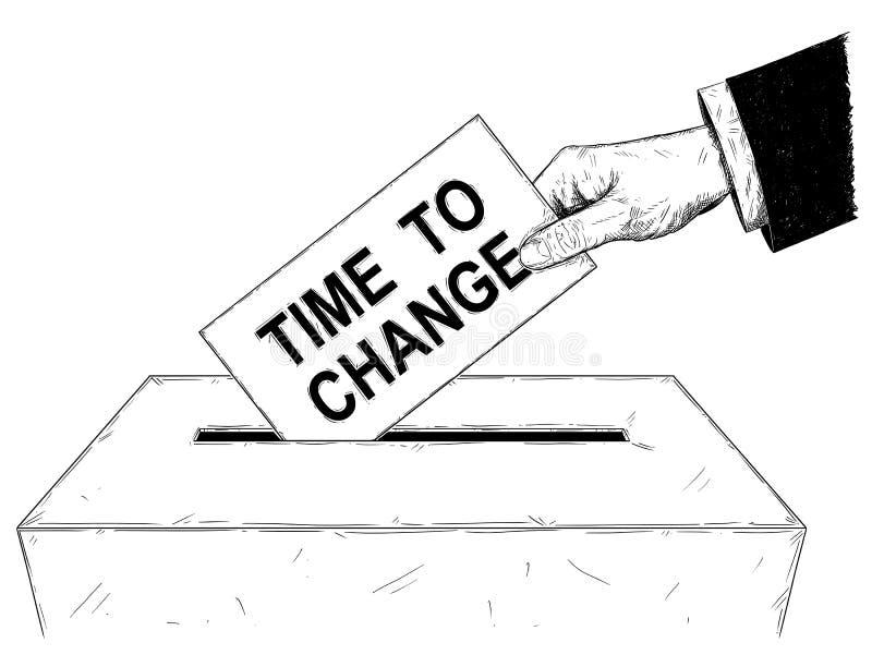 导航选民投入与时刻的` s手艺术性的例证或图画信封改变在投票箱的文本 库存例证
