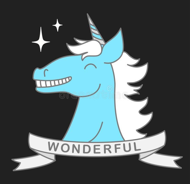 导航逗人喜爱的不可思议的独角兽和标题蓝色头的例证与磁带的美妙在灰色背景 稀薄的平的线 向量例证