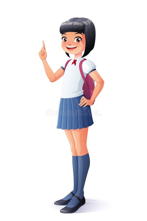 导航逗人喜爱的亚洲学校女孩指点有想法 向量例证