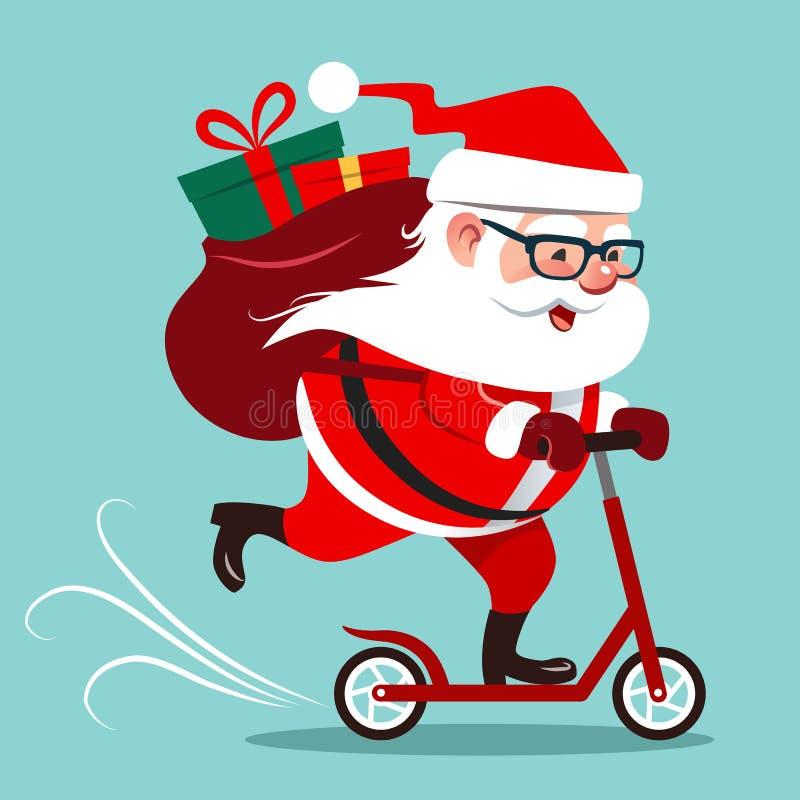 导航逗人喜爱的愉快的圣诞老人骑马的动画片例证  向量例证