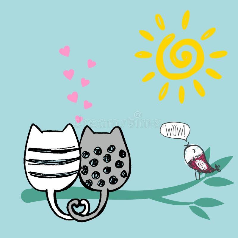 导航逗人喜爱的爱恋的猫的例证坐绿色竹树 皇族释放例证