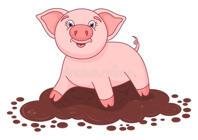 导航逗人喜爱的猪的例证在水坑的 向量例证