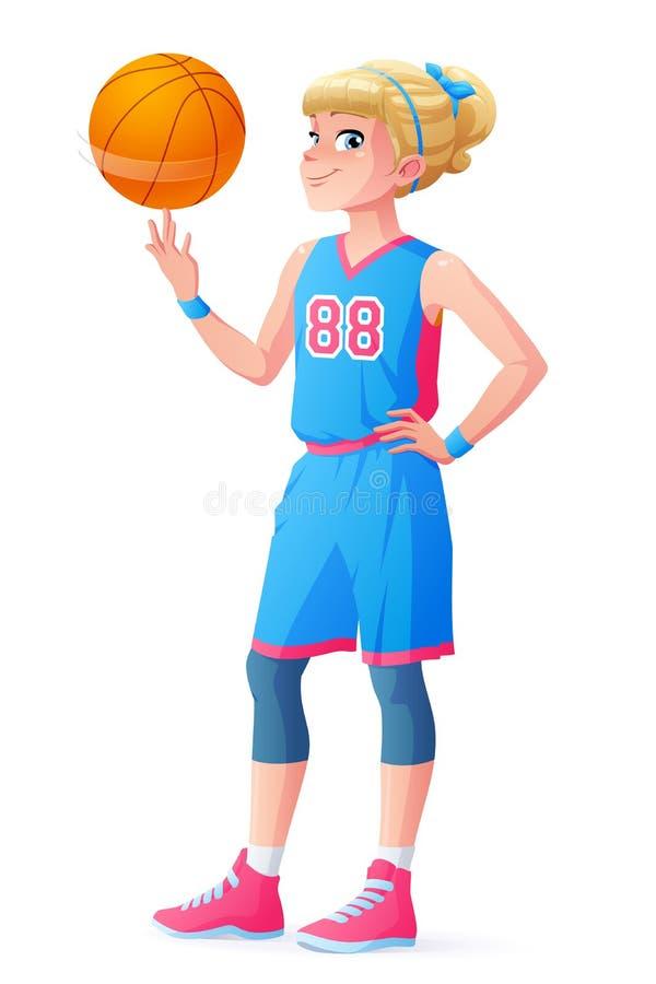 导航逗人喜爱的矮小的在手指的蓝球运动员女孩转动的球 皇族释放例证