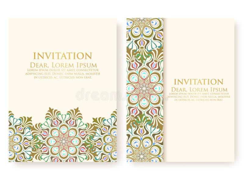 导航邀请,与种族蔓藤花纹元素的卡片 蔓藤花纹样式设计 典雅的花卉抽象装饰品 库存例证