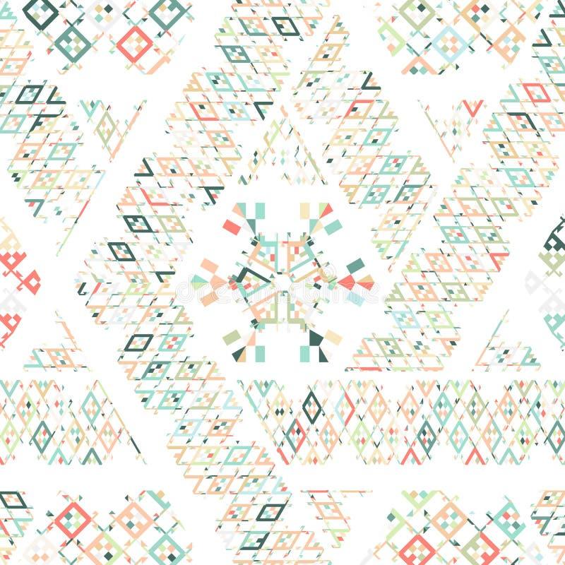 导航部族墨西哥种族纹理,与条纹,几何三角的样式 葡萄酒艺术印刷品装饰品背景 皇族释放例证