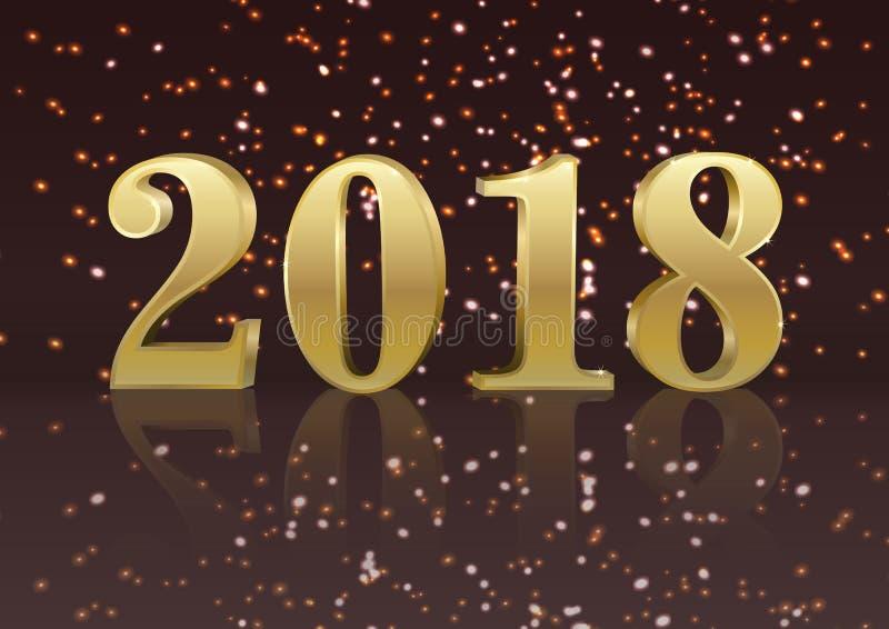 导航金子2018新年与数集的贺卡 创造性的五颜六色的圣诞节例证 假日设计 库存例证