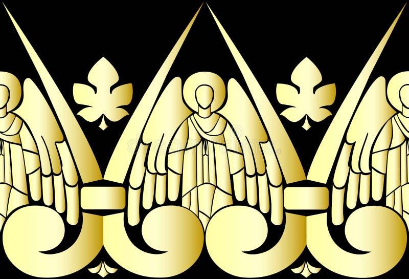 导航金黄天使的例证在黑背景的 模式 皇族释放例证
