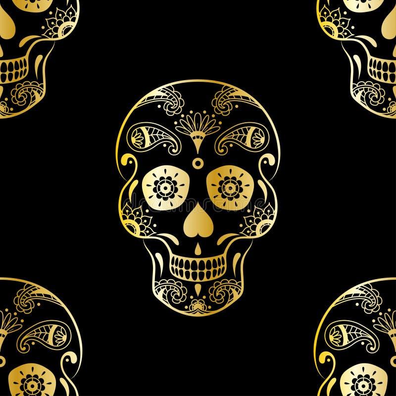 导航金黄糖头骨的无缝的样式有乱画花卉元素的在黑背景 背景为墨西哥天死者 皇族释放例证