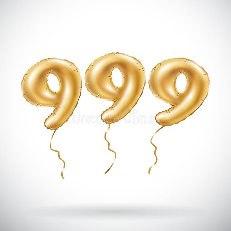 导航金黄第999九百和九十九金属气球 党装饰金黄气球 机会的周年标志 皇族释放例证