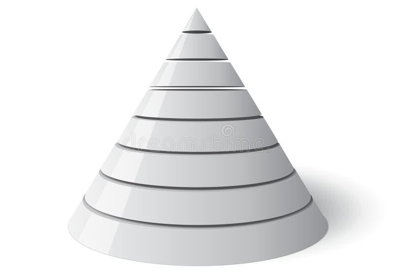 导航锥体八级别,矢量3d形状 皇族释放例证